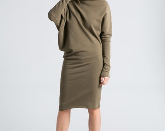 NEW Sweatshirt Dress / Asymmetric Dress / Midi Dress / Winter Dress / Long Sleeve Dress / Long Dress / marcellamoda - MD371