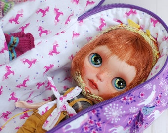 RESERVED Melodie Smith Davis Travel Bag Sleeping Protective Doll Case Blythe Littlefee YOSD Penny by Linda 1/6 Bjd Dal Pullip Purple Unicorn