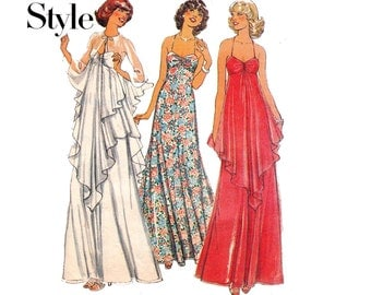 70s Maxi Dress & Evening Cape Pattern Style 1585 Vintage Sewing Pattern Size 10 or 12 Bust 32 1/2 or 34 Inches