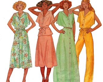 70s Boho Loose Sleeve Top Dress Pants Pattern McCall's 6097 Vintage Sewing Pattern Size 10 Bust 32 1/2 inches