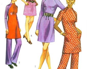 70s Mini Dress Pants Vintage Sewing Pattern Simplicity 9216 Turtleneck Raglan Sleeves Size 14 Bust 36 inches UNCUT Factory Folds NO ENVELOPE