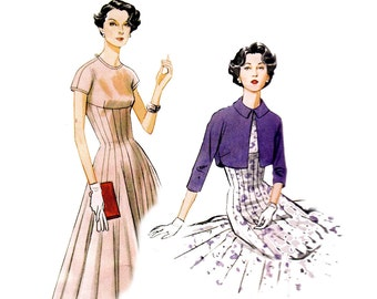 Vogue V8999 Womens Gored Fit & Flare Dress and Bolero Jacket Vintage 1954 Re issue Sewing Pattern Size 6 - 14 / 14 - 22 UNCUT Factory Folded