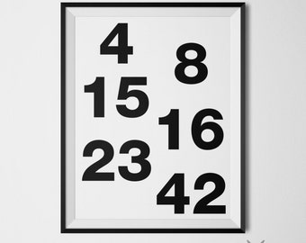 Lost Tv Show Poster Lost Numbers Wall Art Black and White Decor Typography Art Print Lost Hugo Lottery Numbers Minimalist Poster Lost Print