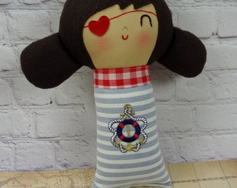 Lola Pirate Girl // Pirate Doll // Handmade Doll // Rag Doll // Valentine Gift // Nursery Decor // New Baby Gift