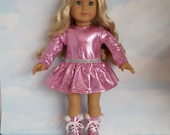 18 inch doll clothes - #800 Pink Skating Outfit handmade to fit the American girl doll - FREE SHIPPING