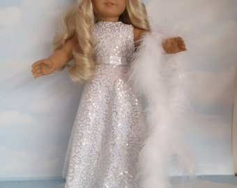 "18"" doll clothes - #203 Silver Sequin Gown handmade to fit the American Girl Doll - FREE SHIPPING"
