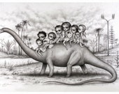 The Brontosaurus Riders - Limited Edition signed numbered 12x18 Children of the Nephilim Fine Art Print by Mab Graves -unframed