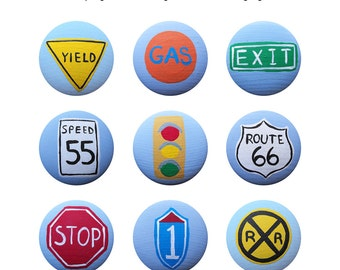Hand Painted Knob - Children's Custom Hand Painted Transportation Sign Drawer Knobs Pulls or Nail Covers for Kids