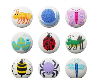 Hand Painted Knob - Children's Custom Hand Painted Drawer Knobs Pulls or Nail Covers with Insects Bugs and Other Critters for Kids