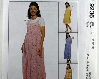 McCall's 9236, Maternity Dress and Jumper Sewing Pattern, Maternity Sewing Pattern, Sewing Pattern, Misses' Size 10, 12, 14, Uncut