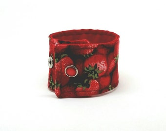 Fabric Cuff Bracelet Replacement Band for Ribbon Watch Strawberries