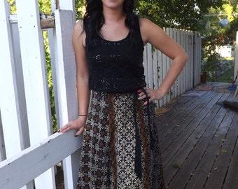Batik Maxi Wrap Skirt Print Long Full Cotton Vintage Black Brown S M