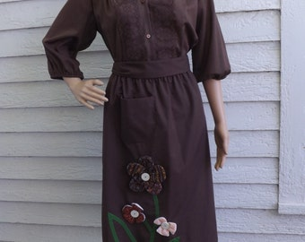 Brown Country Skirt and Top S Floral Western Lace Hippie Midi 70s Carefree Fashions
