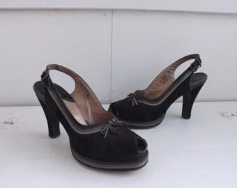 1940s Palter DeLiso Shoes Platform 40s Peeptoe Slingback Heels Vintage 6 1/2 AA Suede