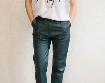 80s pleated green leather pants xs WB69421