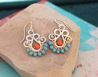 Succulent Earrings in Turquoise and Coral