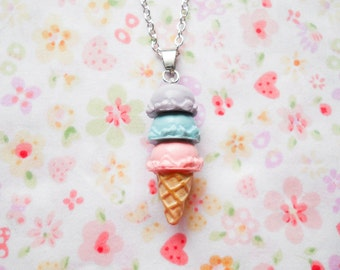 Ice Cream Cone Necklace, Ice Cream, Ice Cream Cone, Kawaii, Cute, Necklace, Polymer Clay, Miniature Food, Food Necklace, Food Jewelry