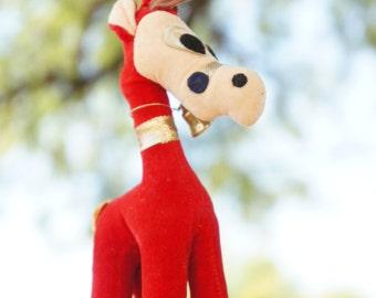 Vintage 50s Velvet Plush Stuffed Reindeer Christmas Decor Retro Mid Century