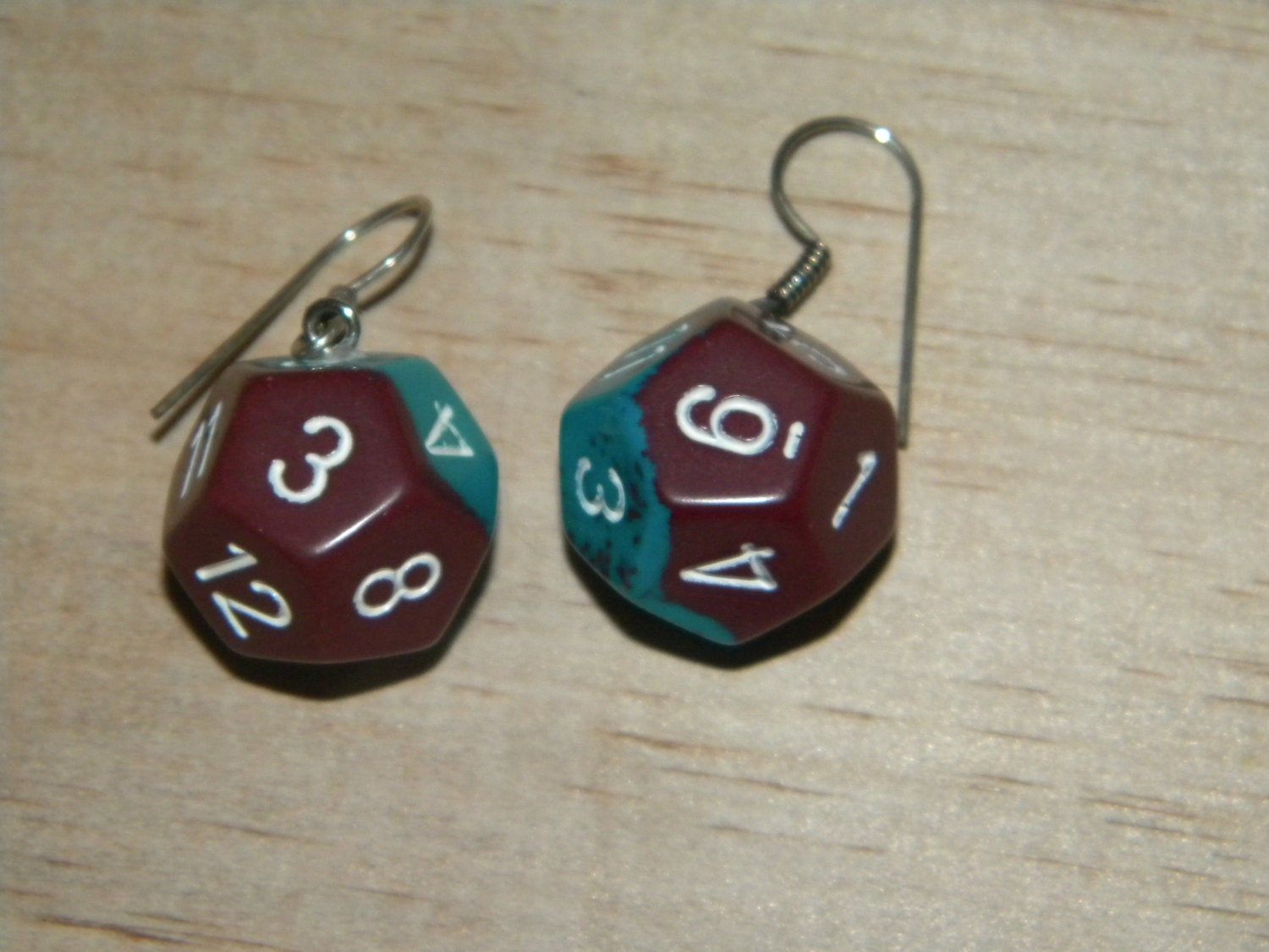 d12 teal and maroon dice nerdy earrings