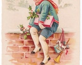 Delivering Gifts - Antique Christmas Postcard - Christmas Postcards, Christmas Cards, Children, Boys, Toys, Gifts, Presents, Paper, Ephemera
