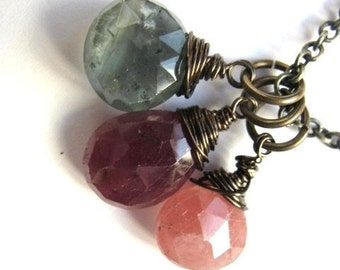 Ruby, Moss Aquamarine and Rhodocrosite Necklace
