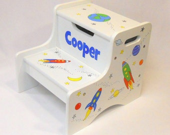 Large Personalized Two Step Stool with Rocket Ships in Space