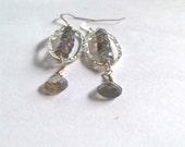 Labradorite Earrings / Fine Silver Earrings / Sterling Silver Earrings / Labradorite Jewelry / Hammered Silver / Silver Dangles / Sterling