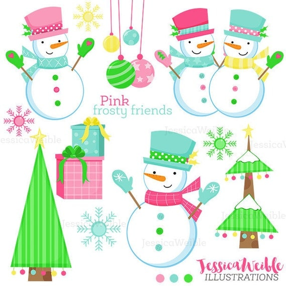 pink frosty friends cute digital clipart christmas clip art rh catchmyparty com cute christmas snowman clipart cute snowman clip art for holidays