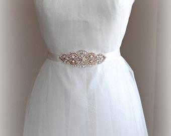 "Rose Gold Crystal & Pearl Sash, Skinny Wedding Belt, Rhinestone Bridal Sash, 5.75"" of Rhinestones, Custom Colors - AMELIE ROUGE PETITE"