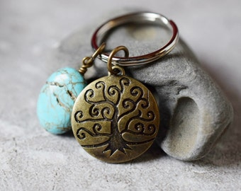 Family Tree Keychain Weeping Willow Keychain Rustic Bohemian Turquoise Key Ring USB Thumb Fob Tree of Life Mothers Men's Gift Father Wife