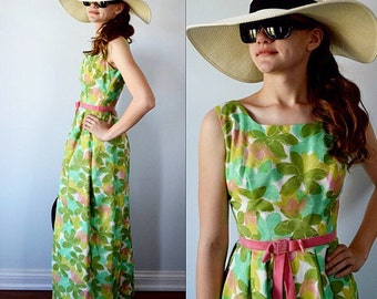 Vintage 1960s Maxi Dress, Vintage Formal Dress, Floral Dress, Vogue Couturier Design, 1960s Dress, Wedding