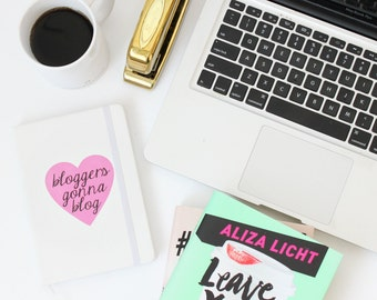 Bloggers Gonna Blog / white journal - black - Girlboss - boss lady - entrepreneur - blogger - blog planner ideas gift - pink heart creative