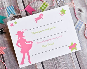 Kids Fill In the Blank Thank You Notes / Cowgirl Thank You Notes / Childrens Thank You Note Cards / Fill In The Blank Cowgirl Design