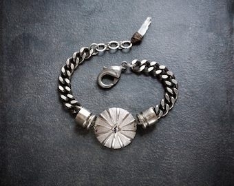Heavy Antique Silver Curb Chain Bracelet with Deco Dome Focal and Nickel Bullet Casings