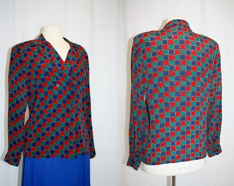 1980's Multicolored Blouse Squares Talbot Size 8 Medium Rayon Hipster Double Breasted Secretary Office Vintage Retro 80s