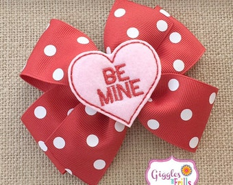 Valentine Hair Bow, Red and Pink Valentine's Day Bow, Girls Valentine Bow, Candy Heart Hair Bow, Toddler Hair Bow, Pink and Red Heart Bow