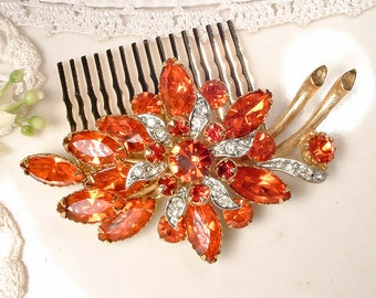 Vintage Orange Rhinestone Gold Bridal Hair Comb, Large 1940s Sash Brooch to Hair Jewelry Autumn Fall Wedding Headpiece Rustic Chic Hair Clip