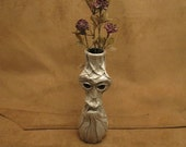 "Grichels bud vase - ""Vantink"" 26920 - scaly metallic silvery white leather with red and gold slit pupil shark eyes"