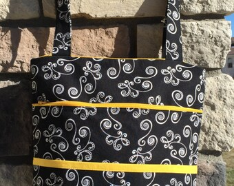 Zippered Carry-On Tote Bag in Black & Yellow