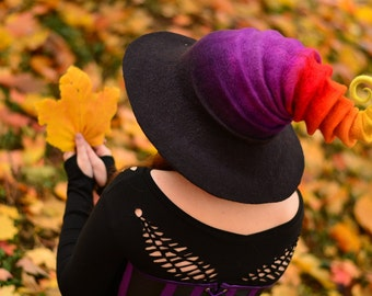"""Costume Hat. """"Candy Corn"""" Witch Hat. Wizard Hat. Fantasy Hat. Cosplay Hat. LARP."""