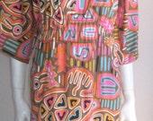 70s vtg tribal maxi dress