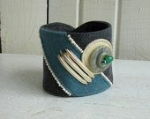 Cuff bracelet jeans, leather and buttons, eco design jewelry, unique creation