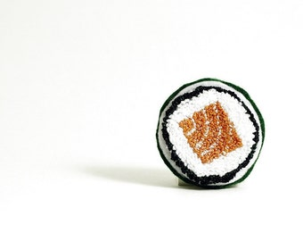 Ready to Ship! Faux Salmon Roll Sushi Pin. Punchneedle Embroidery Food Art. Orange, Green, White. Eco Friendly. Quirky Fun Foodie Gift