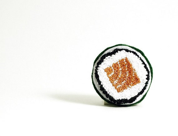 Faux Salmon Roll Sushi Pin. Punchneedle Embroidery Food Art. Orange, Green, White. Eco Friendly. Quirky Fun Foodie Gift