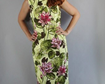 FREE SHIPPING Summer Dress, Tiki, Hawaiian Dress, Sleeveless, vlv, Pinup, Waterlilies, Bombshell, Wiggle Dress, Spring Break, Size Medium