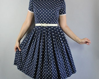 Vintage 1950s 50s Women's Navy Blue White Polka Dots Summer Fall Short Sleeve Cute Viva Las Vegas Pinup Day Dress