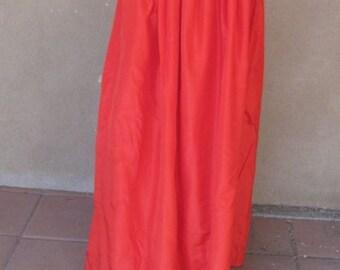 Raw silk fire engine red evening maxi skirt