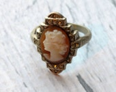 Sterling Silver Cameo Ring - Silver Cameo Ring - Sterling Silver Ring - Traditional Cameo Ring - Sterling Marcasite Ring - Size 8 Cameo Ring