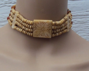 Carved Bone Hematite Polished Stone Beads, 4 Strands of Carved Bone Beads, Vintage Choker Necklace