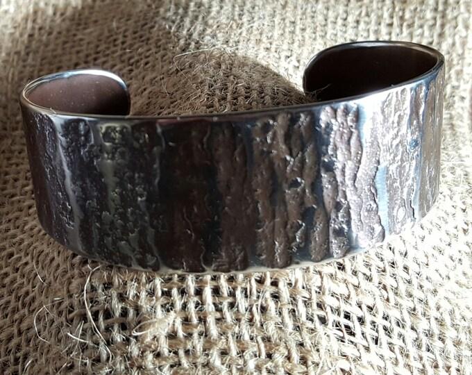 Unisex Silver CUFF Bracelet Hypo Allergenic Hand Forged Rugged Woodgrain Textured Stainless Steel Signed Original by Robert Aucoin, Iron Art
